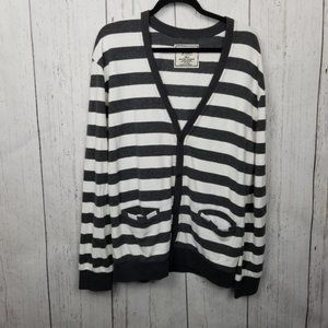 Chor striped cardigan gray and white XL